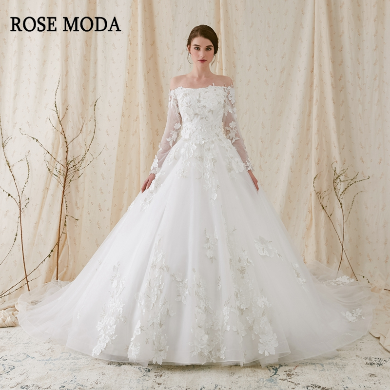 b20b4ab04fc0 Rose Moda Luxury Off Shoulder Long Sleeves Princess Ball Gown 3D Floral  Lace Wedding Dress 2019 Long Train Lace Up Back