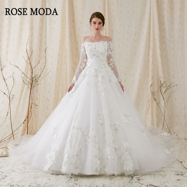 3a68e02d808e Rose Moda Luxury Off Shoulder Long Sleeves Princess Ball Gown 3D Floral  Lace Wedding Dress 2019 Long Train Lace Up Back