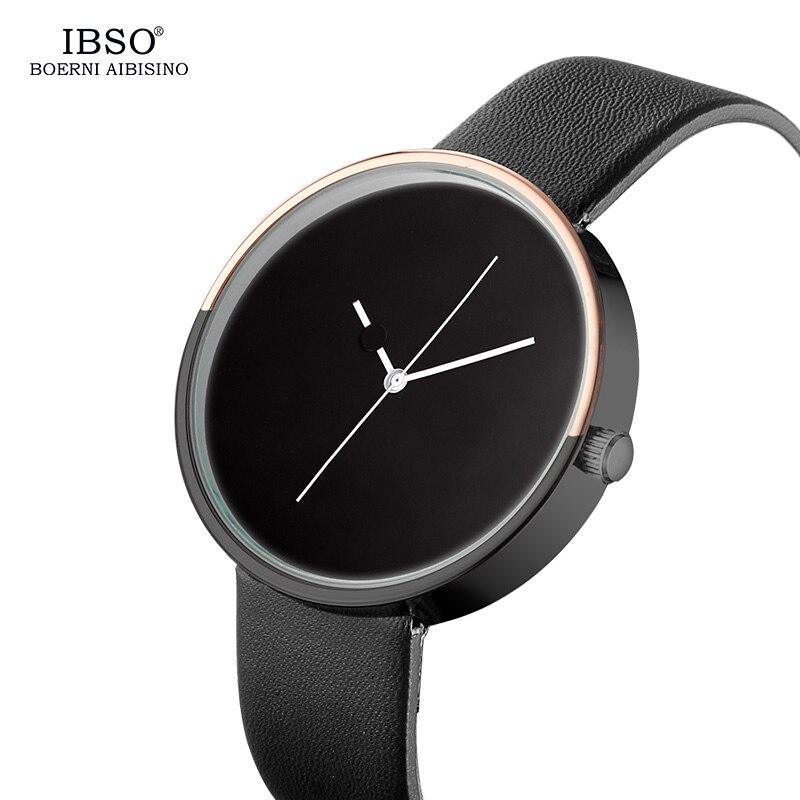где купить IBSO Minimalist Style  Mens Watches Leather Strap Gift Cool Creative Design Dot and Line Simple Stylish Quartz Fashion Watch по лучшей цене