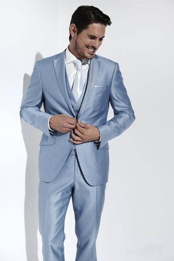 Custom Made Light Blue Satin Men Suit Slim Fit 3 Piece Tuxedo Groom Blazer Prom Suits Wedding Suits For Men (Jacket+Pants+Vest)