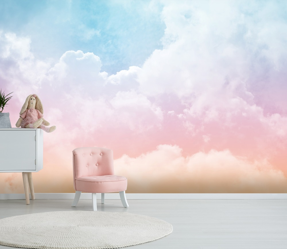 [Self-Adhesive] 3D Pink Clouds Sky 44 Wall Paper Mural Wall Print Decal Wall Murals