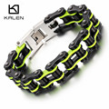 Kalen New Punk Men's Biker Jewelry Wholesale Stainless Steel Green Black Bike Chain Bracelet Bicycle Link Chain Bangle Wristband