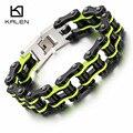Kalen nuevo punky del motorista de los hombres joyería al por mayor verde negro pulsera de cadena de bicicleta bicicleta de acero inoxidable del acoplamiento de cadena brazalete de la pulsera