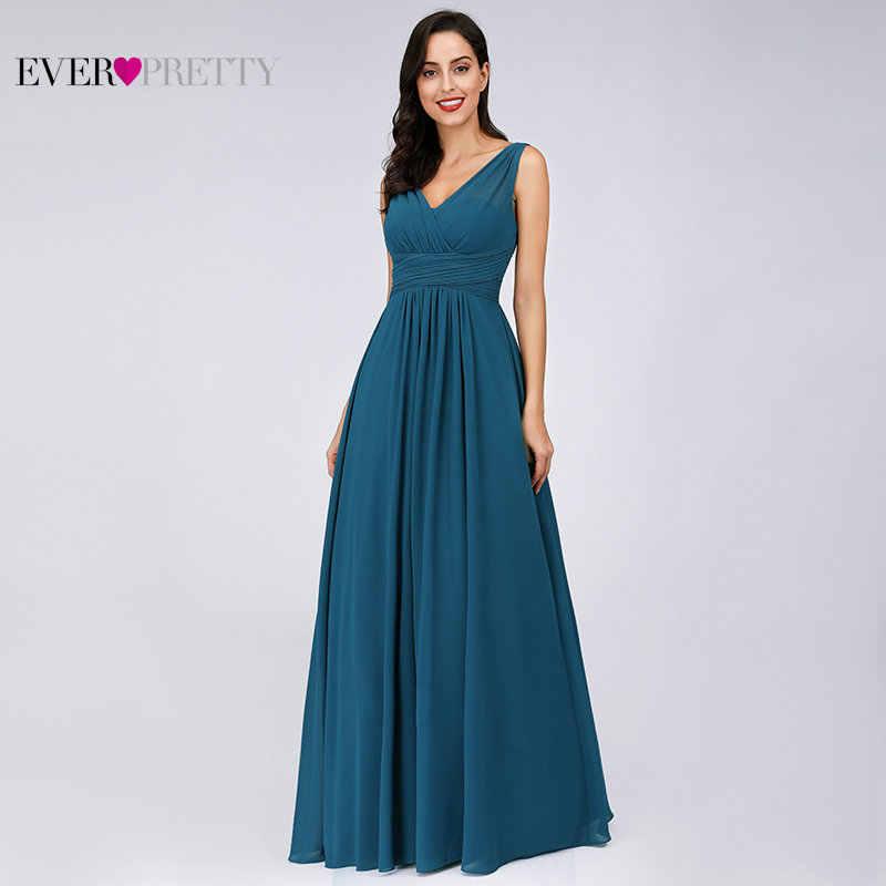 51858c694c256 ... Prom Dresses 2019 Ever Pretty EB07657 Elegant A-line V-neck Teal Tulle  Sleeveless ...