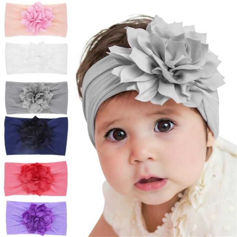 1 Pc Schöne American Neugeborenen Große Blume Weiche Elastische Haar Zubehör Stirnband Kinder Baby Lotus Blatt Handgemachte Haarband Headwear
