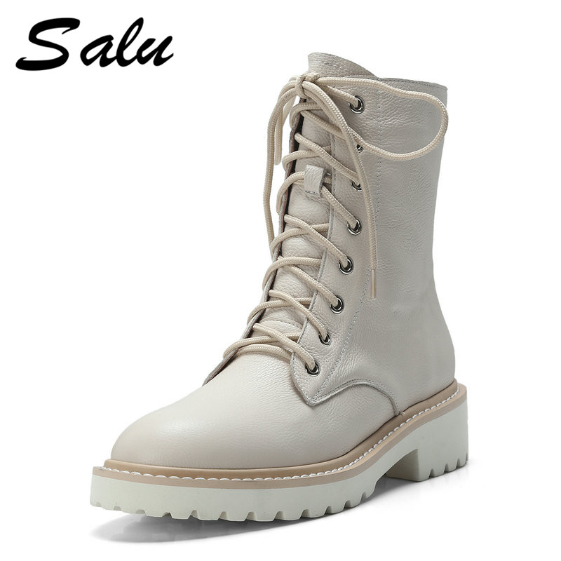 Salu women boots natural cow leather thick heel genuine leather shoes round toe shoes ankle boots