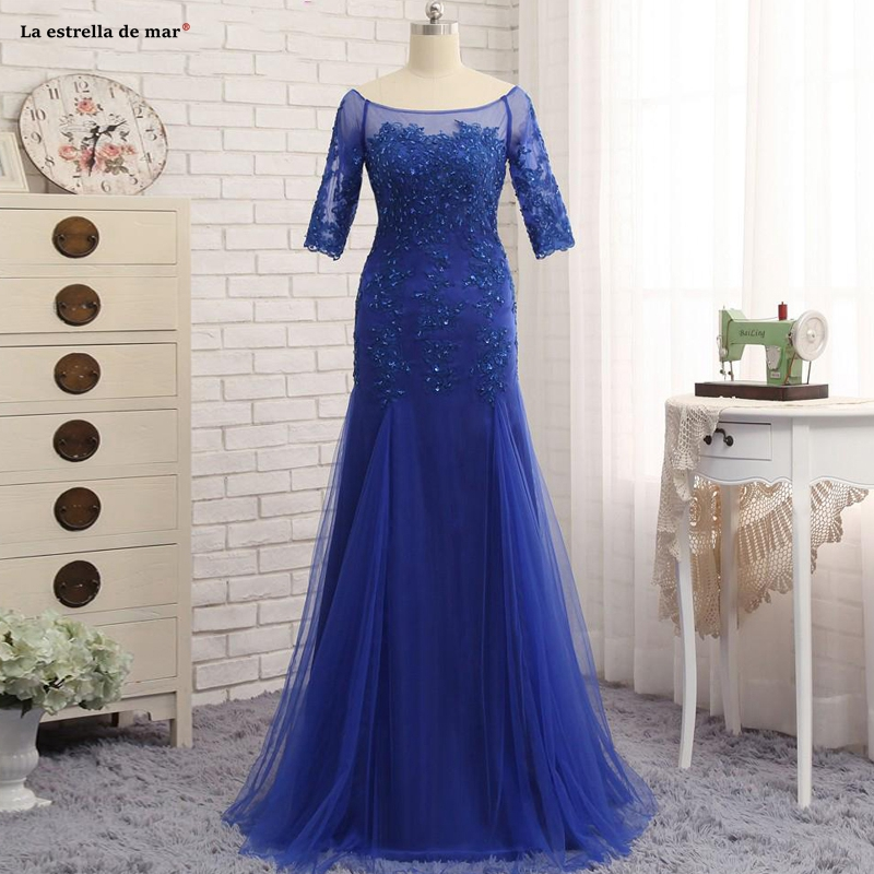 Mother Of The Bride Dresses 2019Half Sleeves Royal Blue Scoop Neck Evening Party Gowns Tulle Sheer Long Formal Dress For Groom