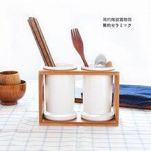 Кухонный гарнитур, керамические трубы двойные палочки для еды полка держатель ложка творческий ящик для хранения кухня organizador