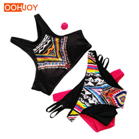 2017 New Sexy Bikini Women Swimwear High Neck Push Up Geometry Print Black Swimsuit Brazilian Girl
