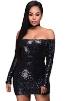 2017 Autumn New Fashion Women Plus Size Evening Party Mini Dresses Glittering Long Sleeve Off Shoulder Club Dress LC22896