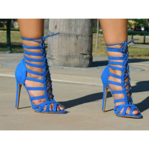 Newest Lace Up Women Sandals Green Hollow Out Stiletto Heel Lace up Sandals Thin Heels Strappy Elegant Hot Selling Dress Shoes in High Heels from Shoes