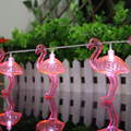1.65M 3V 10 Red Flamingo LED Bulbs String Light Battery Opetated Home Party Decor
