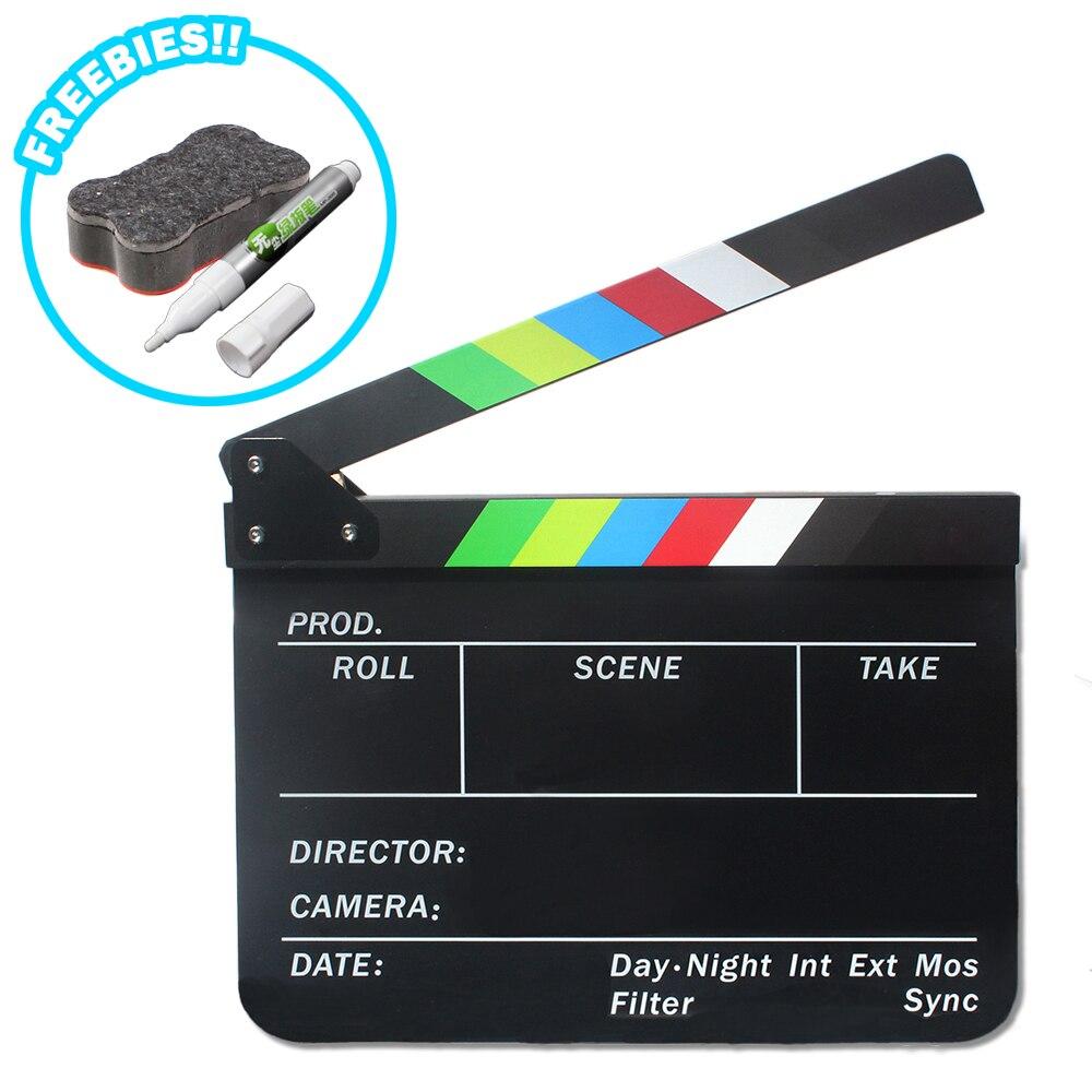 Directeur Scène Vidéo Clap Clapper Board Acrylique Effaçable À Sec Directeur TV Film Film D'action Slate Clap Coupé À La Main Prop