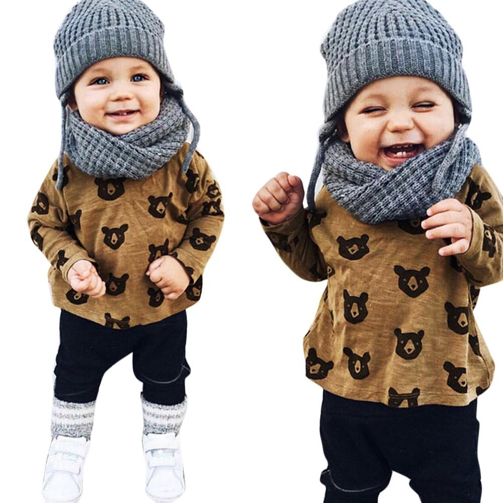 LONSANT Toddler Kid Baby Boys Girls clothes Autumn Bear Printing long sleeve T-shirt+Long Pants Clothes Set Drop Shipping
