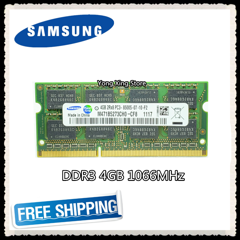 Samsung <font><b>DDR3</b></font> 4GB 1066MHz Laptop memory PC3-8500S notebook RAM 8500 4G SODIMM image