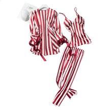 귀여운 스트라이프 여성 잠옷 섹시한 실크 잠옷 정장 3 pcs nightdress + 가운 + 바지 새틴 나이트 홈 파자마 femme을 설정합니다