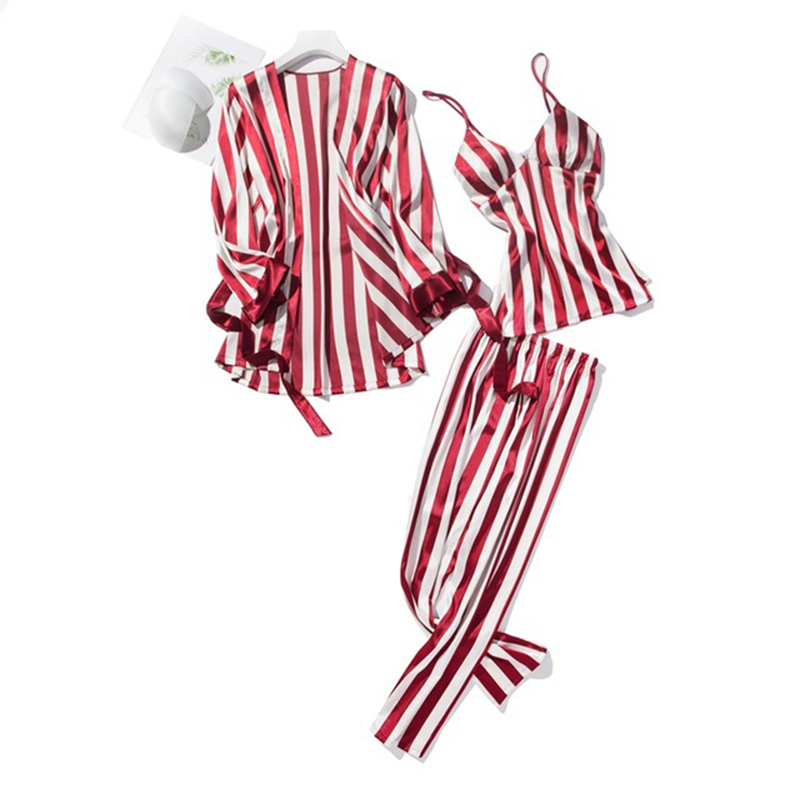 Cute Stripe Women   Pajamas     Sets   Sexy Silk Sleepwear Suit 3 Pcs Nightdress + Robe + Pants Satin Night Home Wear Pyjama Femme