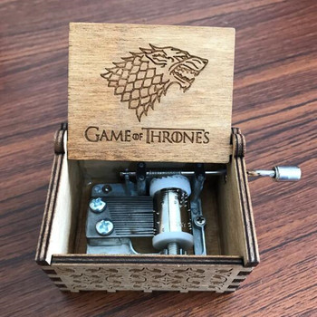 Game of Thrones Starck Family Direwolf Cosplay Props Hand Cranked Music Box Engraved Wooden Crafts Custom