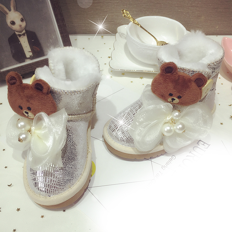Free Shipping Lovely silver bear ribbon Rhinestone crystal baby girl's bling Snow Boots children warm Shiny fashion Winter shoes