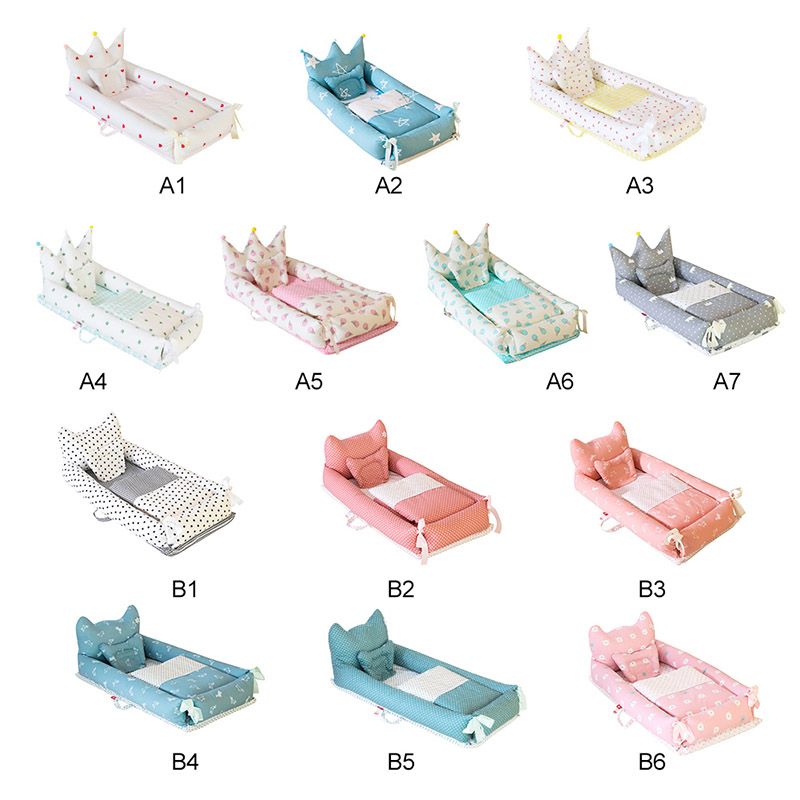 5PCS Portable Baby Crib Nursery Travel Folding Baby Crib Bag Infant Toddler Cradle Multifunctional Baby Crib Set Storage Bag