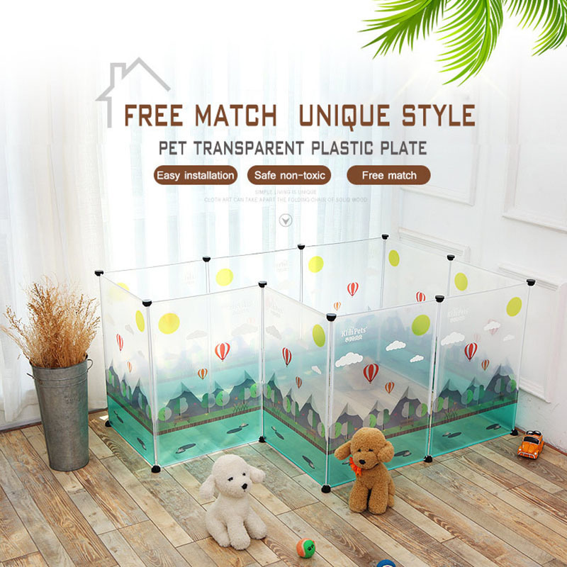 Transparent Dog Beds For Large Dogs Free Assembly Safe Plastic Playpen Dog House Cage Chihuahua Puppy