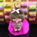 Monchhichi fur ball pom pom keychain crystal Monchichi Key Chain porte clef pompom de fourrure Women Handbag car charm Pendant