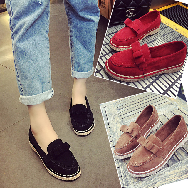 2016 spring and autumn new female fashion shoes sets foot bow shoes all-match Doug a lazy oh why pregnant women anti work shoes