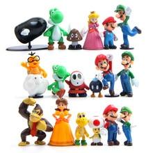 18pcs/set 3-7cm Super Mario Bros PVC Action figures Toys Yoshi peach princess luigi shy guy Odyssey Donkey Kong model Dolls стоимость