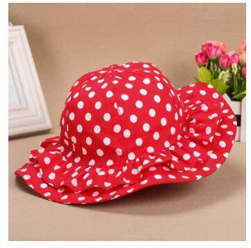 5pcs/lot1-4 Years Baby Sunbonnet Sun Hats Cotton Polka Dots Fisherman 50-52cm Caps Touca Children Infant Summer Beach Bucket Hat