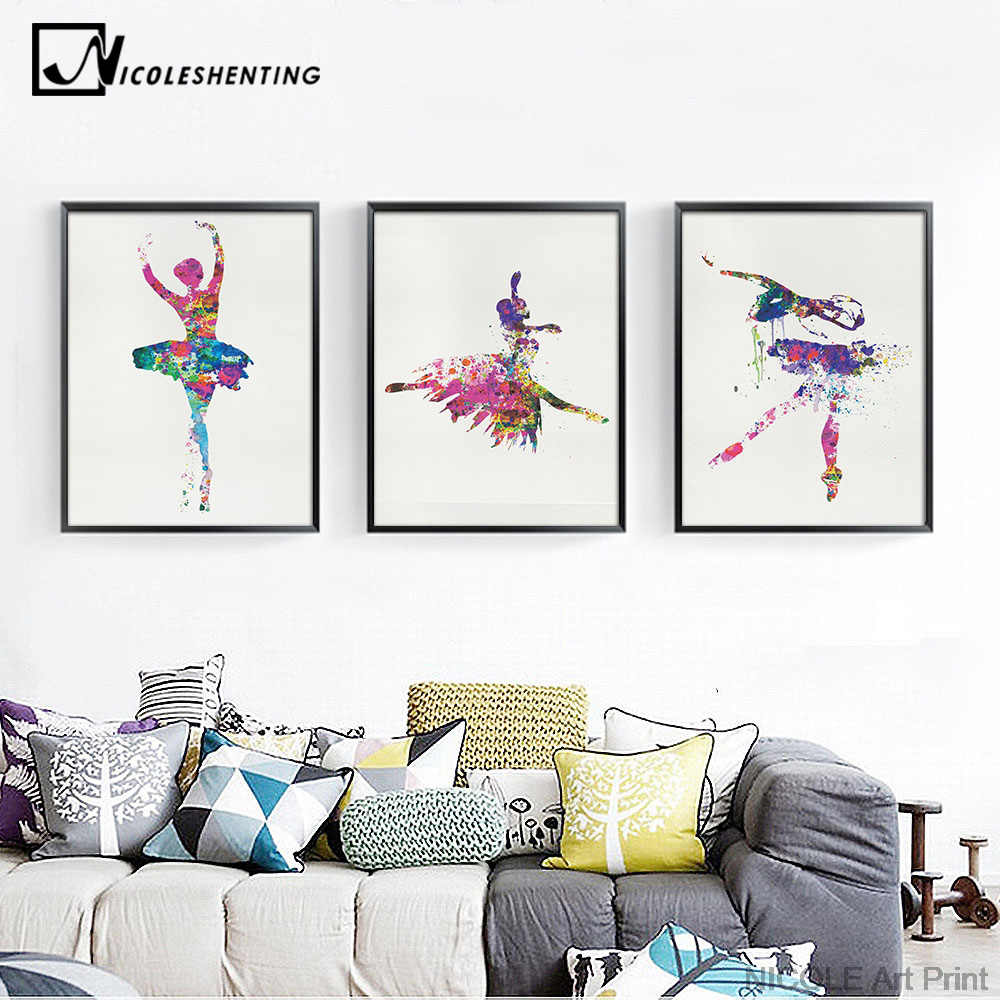 Ballerina Ballet Dance Girl Minimalist Art Canvas Poster Painting Watercolor Picture Print for Modern Home Living Room Decor C66