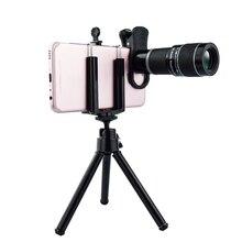 휴대 전화 용 범용 18x 망원 렌즈 삼각대 및 클립이있는 hd 망원경 헤드