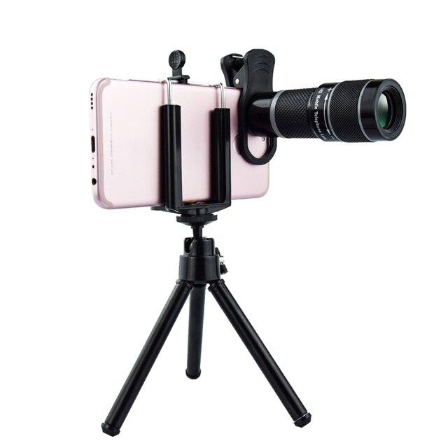 Universal 18X Teleobjektiv für Handys HD Teleskop Kopf mit Tripot & Clip für Handys