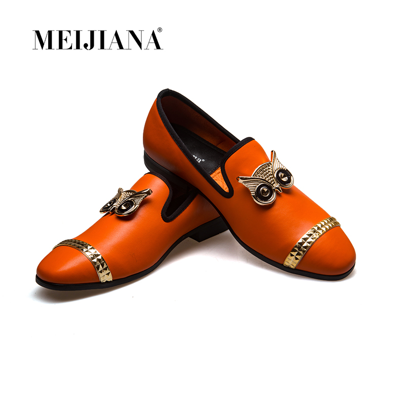MeiJiaNa 2019 New Metal Buckle Brand Fashion Shoes Mens Loafers Leather Moccasins Banquet Shoes