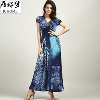 Plus Size Short Sleeve Sexy Leopard Print Maxi Dress Summer Deep V Neck Women Big Size