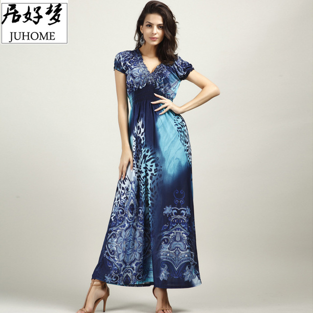 Большие размеры пикантные длинное летнее платье женские clothing 2017 Blue Большой/Большие размеры Элегантный Boho пляжная туника Sun Dress Vestido De Festa