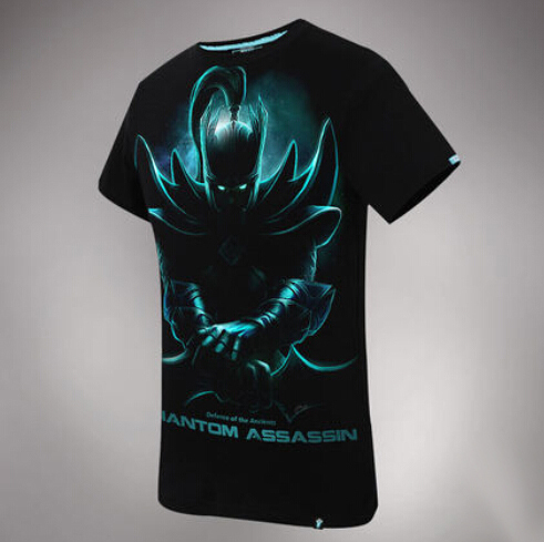 Cool Design DOTA 2 Phantom Assassin T-shirts 100% Cotton Black xxxl Tees