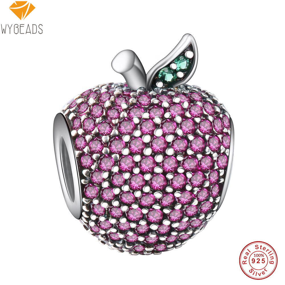 WYBEADS 925 Sterling Silver Charms Apple Pave Red Zirconia European Bead For Snake Chain Bracelet Original Fine Jewelry Making