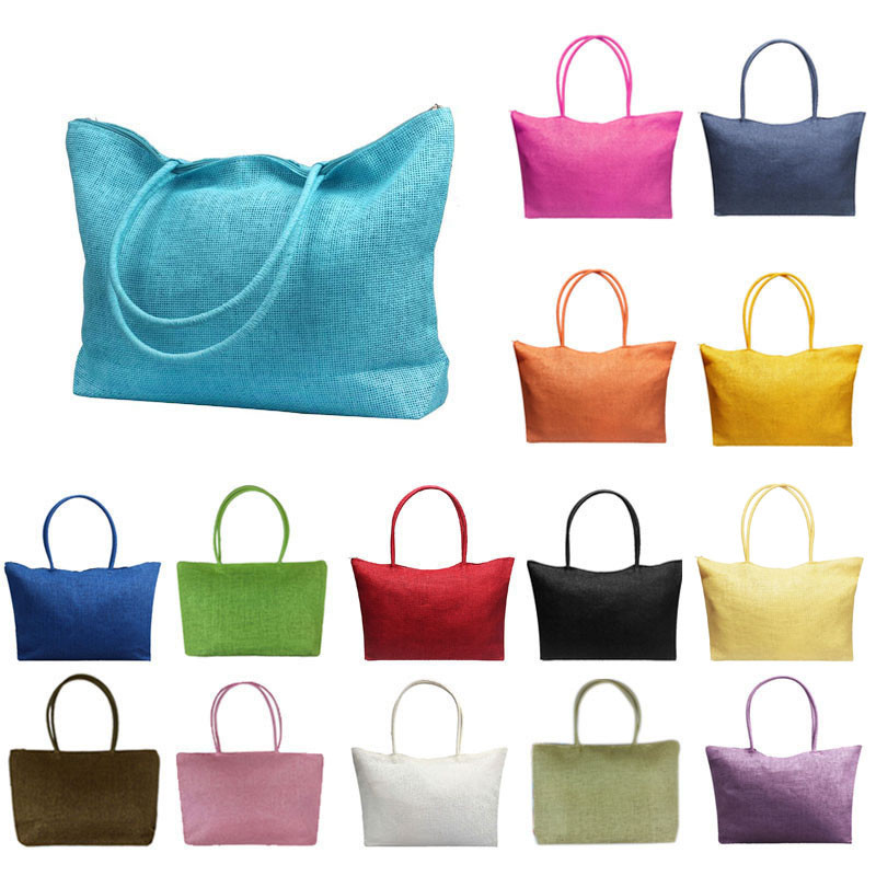 Simple Candy Color Large Straw Beach Bags Women Casual Cotton Fabric Shoulder Bag  Summer Casual Beach Pocket Toe 14 Colors