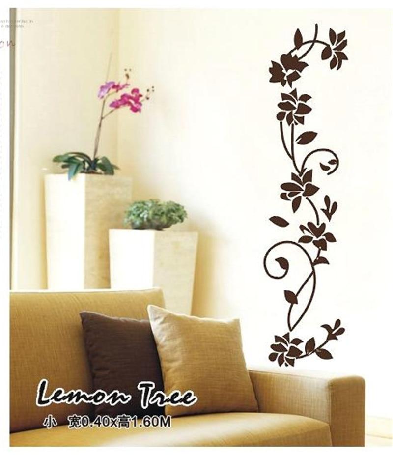 black flower vine wall stickers refrigerator window cupboard home