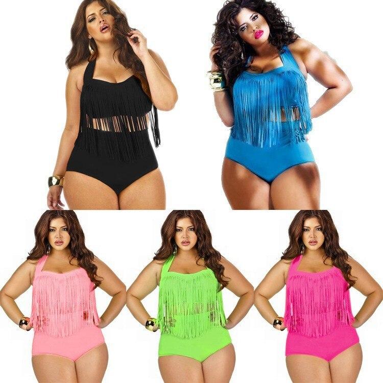 online shop sexy costumi da bagno 2016 high waist europe fatty lady plus size tassels bikinis set s002 hot sales aliexpress mobile
