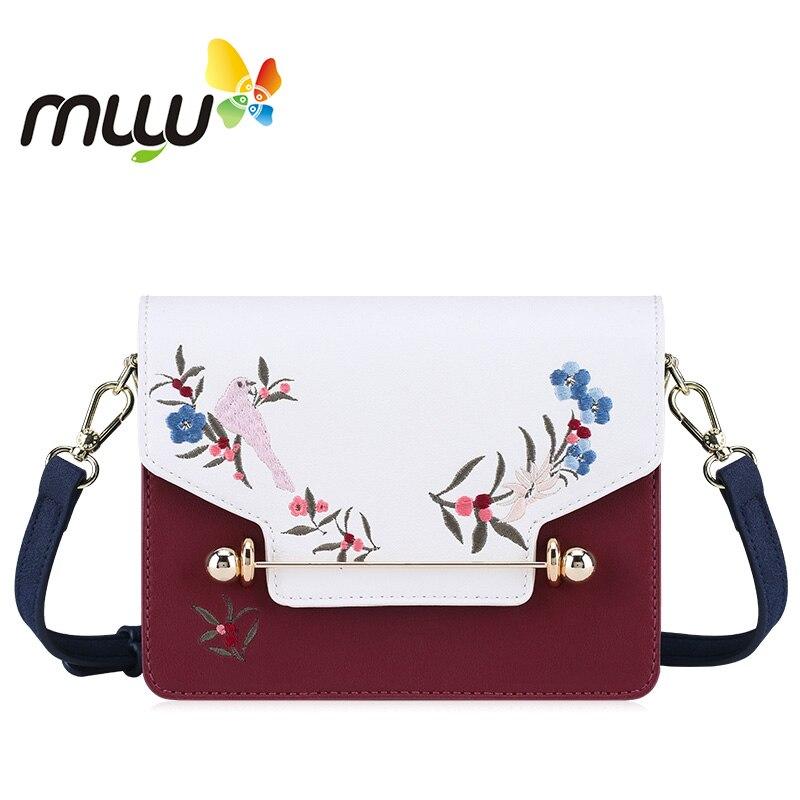 Muyu 2018 с национальной вышивкой цветочный из мягкой искусственной кожи сумки на ремне Hasp застежка Для женщин Повседневное мини ранцы Crossbody су...