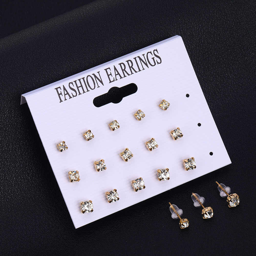 Ailend12 double / set of earrings women's heart-shaped square crystal earrings, suitable for women's perforated simulation pearl