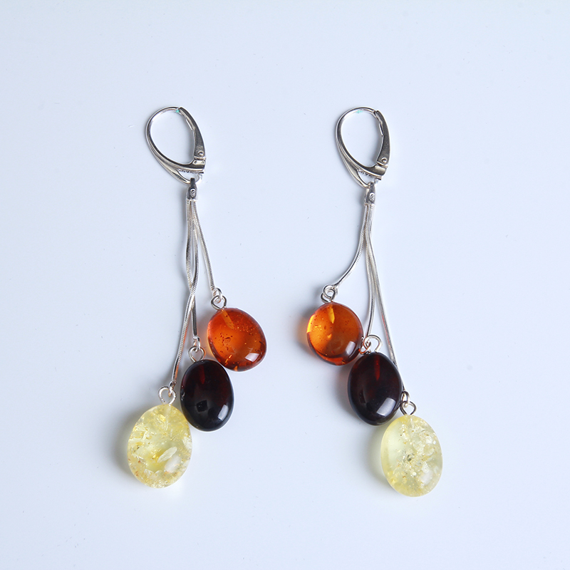 100% Authentic Earrings Female Amber Sterling Silver Chicken Oil Baltic; multi-color mixed wild fashion;  free shipping