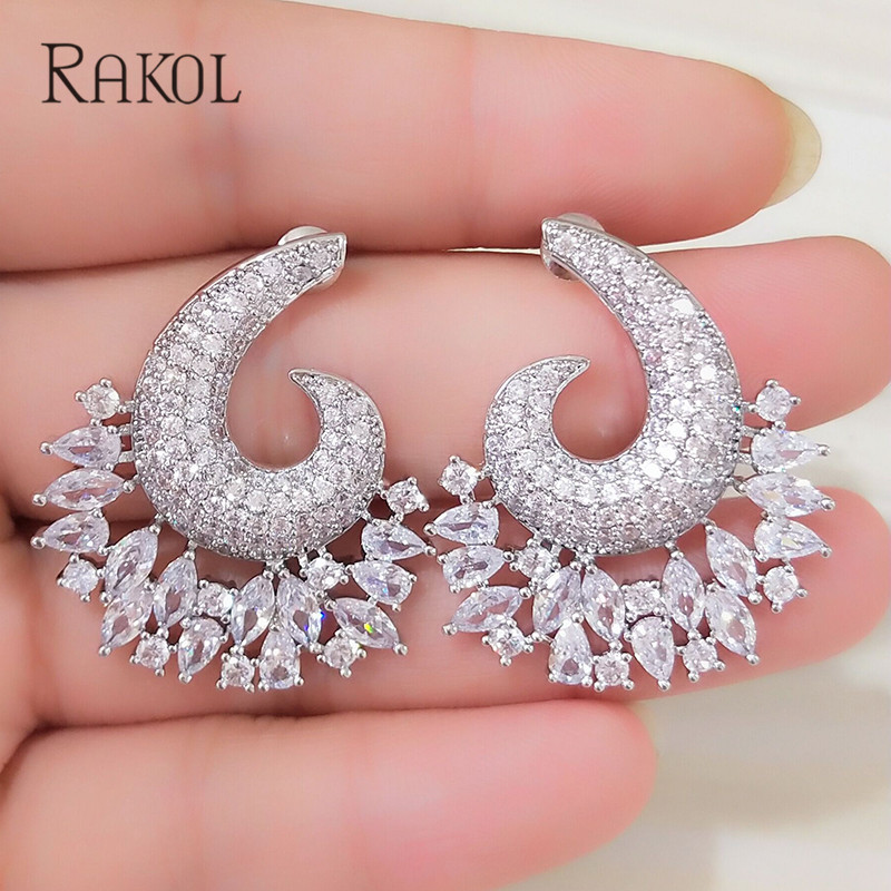RAKOL New Luxury Flower Exposion Design Cubic Zirconia Ear Earrings Shinning Wedding Stud Earrings Acessories