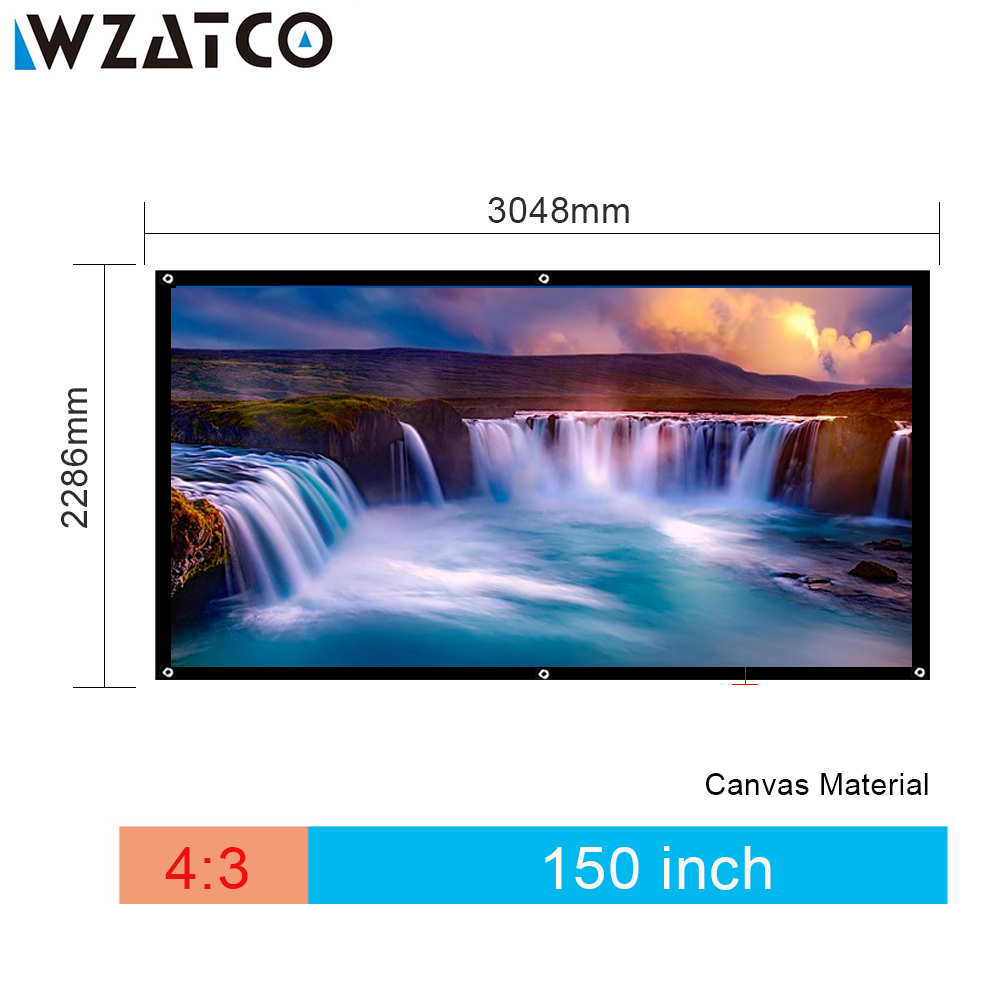 WZATCO 150inch 4:3 Movie Foldable HD Projection Projector Screen With Canvas Material 4:3 Or 16:9 Optional Projection Screen newpal 150 inch projector screen 4 3 16 9 foldable projector screen for outdoor and home cinema movies