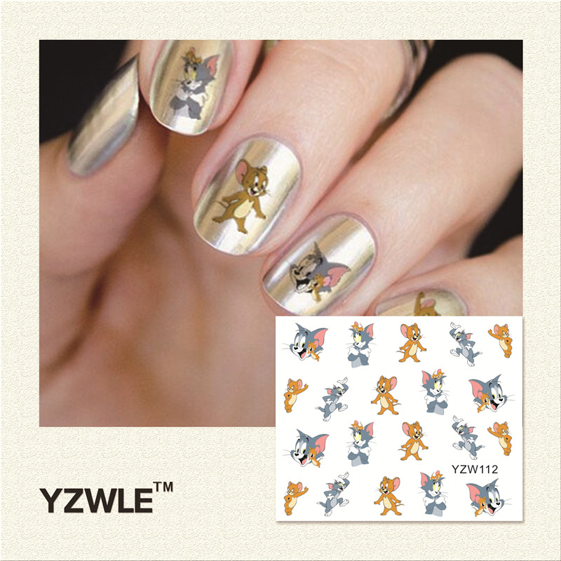 YZWLE 1 Piece Hot Sale Water Transfer Nails Art Sticker Manicure Decor Tool Cover Nail Wrap Decal (YZW112) yzwle 1 sheet cartoon watermark water transfer design nail art sticker nails decal manicure tools