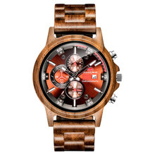 2019 New Men's Sub-Dials Wooden Watches Quartz Analog Movement Date Wrist Watch For Men Multi-Function Sports Wood Fashion Watch все цены