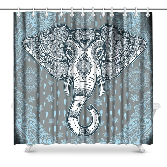 Beautiful Bohemian Elephant Paisley Indian Ethnic With Tribal Print Polyester Fabric Shower Curtain