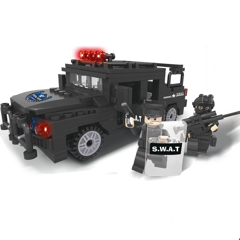 KAZI Action Model SWAT With Gun Police Hummer Building Blocks Set Bricks Toys For Children Learning Gifts kazi 228pcs military ship model building blocks kids toys imitation gun weapon equipment technic designer toys for kid