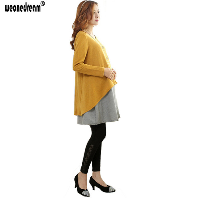 WEONEDREAM Cotton Patchwork Maternity Dresses Pregnancy Clothes 2018 Spring Autumn Long Sleeve Clothes for Pregnant Women
